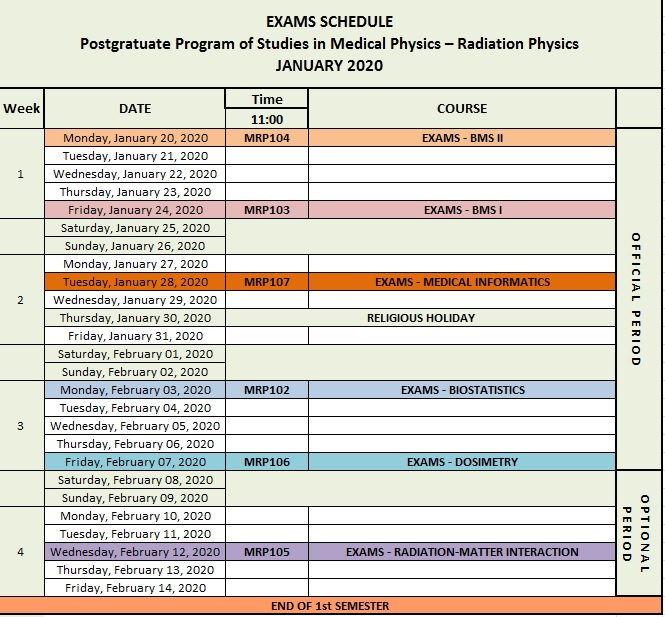EXAMS SCHEDULE - January 2020